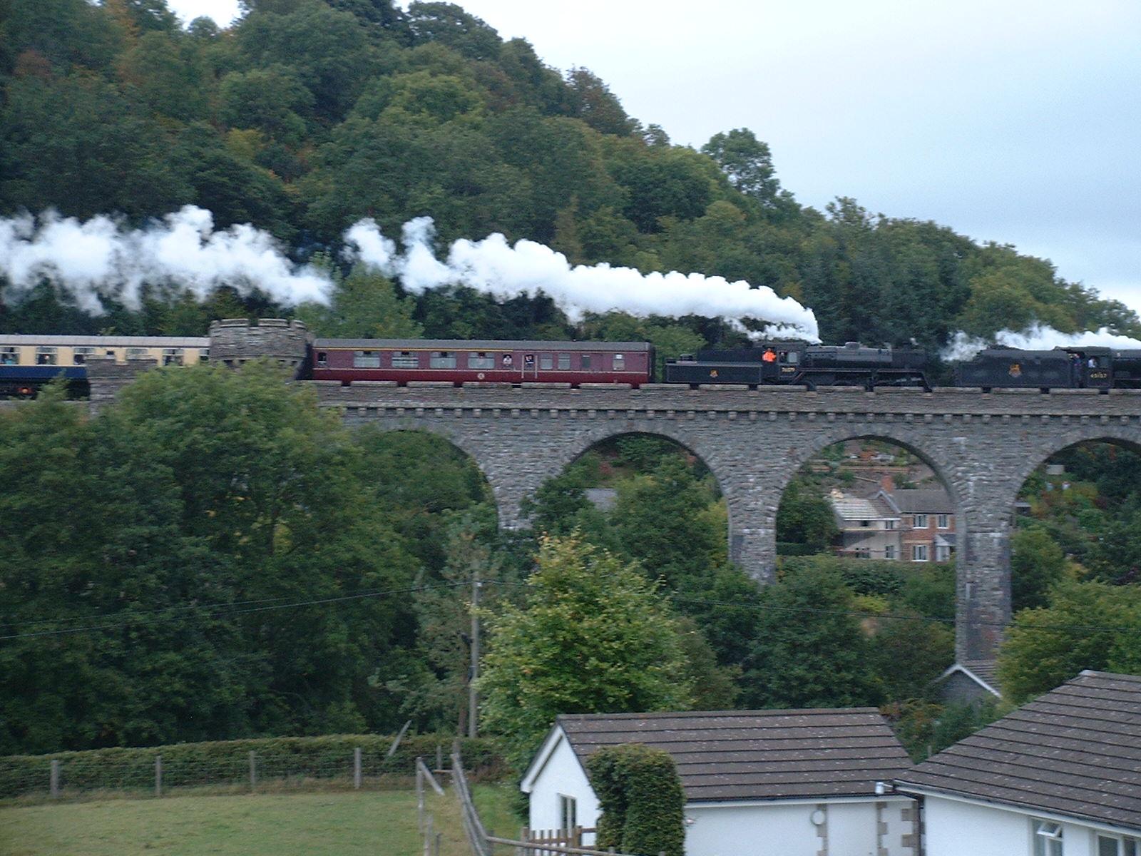 Steam on viaduct
